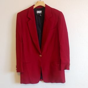 DKNY long deep red blazer